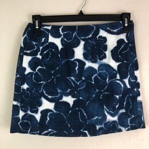 J. Crew Skirts - J. CREW Skirt Blue Floral Size 2 Short Casual Work